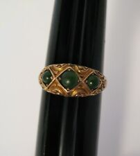 with Jade Stones Ring Antique Victorian 10K Gold Ornate
