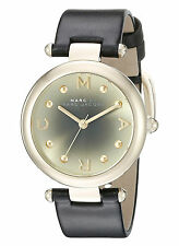 NEW Marc Jacobs MJ1409 Dotty Black Leather Strap Gold Dial Women's Watch