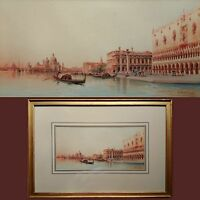 UMBERTO ONGANIA (VENICE 1867-1942) ORIGINAL SIGNED ANTIQUE WATERCOLOUR PAINTING