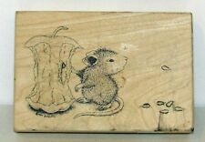 HOUSE MOUSE SPITTING APPLE SEEDS MOUNTED RUBBER STAMP