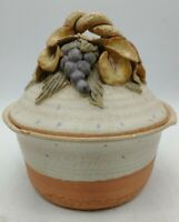 """Vintage Jar with lid red clay pottery glazed grapes flower 5""""w6""""t kitchen artpot"""