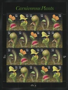 #3531a Carnivorous Plants 34c Sheet of 20, No Faults; CV $14
