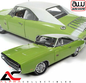 AUTOWORLD AMM1249 1:18 1970 DODGE CHARGER R/T (FJ5 SUBLIME GREEEN) HEMMINGS