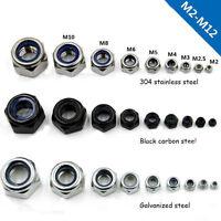 2-100PCS Locknuts Hex  with Nylon Insert Stainless Steel Black M2 - M8/M10/M12