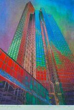 """Wera Schroener """"Skyscrapers"""" HAND SIGNED Pastelograph German Artist Schroner"""