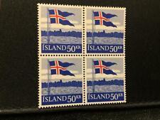 1958 ICELAND Flag Sc. #314 Block of 4  MNH  FREE SHIPPING