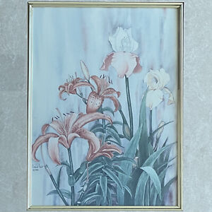 """""""Iris & Lillies"""" - Carmel Foret Print in Gold Painted Wooden Frame - 12.5"""" x 14"""""""