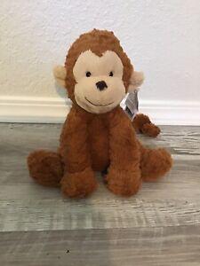"""JellyCat London Fuddlewuddle Monkey Stuffed Animal Plush Toy Brown Tan 9"""""""