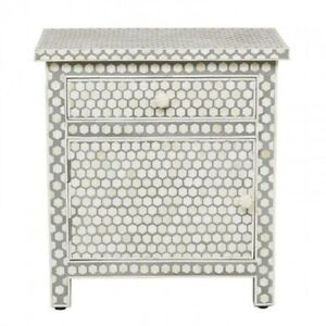 MADE TO ORDER Bone Inlay Indian Handicraft Bedside Cabinet Table Grey Honeycomb