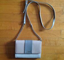 Nine West Beige Pink & Gray Crossbody/ Convertible Clutch Chain Link Bag Purse