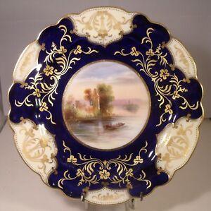 "George Jones 8.5"" Hand Painted Cobalt Gilded Cabinet Plate Eniskillen Castle"