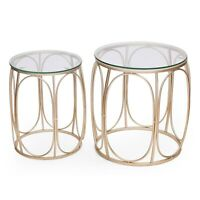 Adeco Classic Goldtone Nesting Side Table (Set of 2) Gold Modern & Contemporary