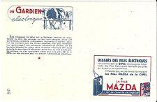 Buvard publicité Pile MAZDA cloture électrique vache