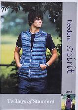 """Twilleys Knitting Pattern 9062 Mens Gilet Optional Hood Zip 38-48"""" DK Spirit"""