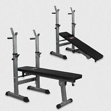 Weight Bench With Barbell Rack Flat Shoulder Chest Press Home Fitness Workout