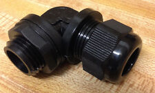 """3/8 """" NPT 90 Degree - Strain Relief Cable Gland w/nut + gasket - NEW"""