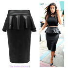 Ladies Womens Smart Office Pvc Wet Look Leather Bodycon Midi Peplum Pencil Skirt