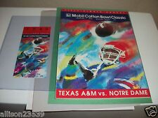 TEXAS A&M VS. NOTRE DAME COTTON BOWL PROGRAM & TICKET 1-1-1994