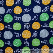 BonEful Fabric FQ Cotton Quilt Flannel Blue Green Gray Baby BOY DINOSAUR L T-Rex