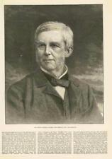 1886-antica stampa AMERICA Ritratto poeta Oliver WENDEL Holmes Guerri (057)