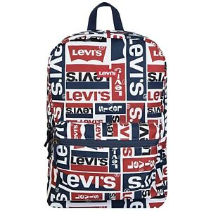 Levi's Classic Logo Backpack All Over Print Red  Blue Book Bag Travel Duffle NEW