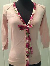 DOLCE  & GABBANA Pink Bow Floral Print Cardigan Dress Sweater I 38 US 2