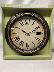 "404-3045BK La Crosse Clock Company 18"" Plastic Analog Wall Clock - Brown"