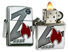 Zippo 29104 Big Z Flame & Logo Emblem Brushed Chrome Windproof Lighter New