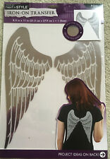 "Angel Wings Silver Metallic Iron-on Transfer 10"" x 9"" FREE SHIPPING"