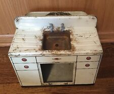 Vintage MARX Metal Kitchen Sink Tin Toy White Patina