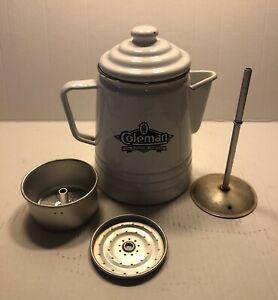 "Vintage Coleman Enamelware ""Sunshine of the Night"" Percolator Coffee Maker/Pot"