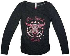 No Boundaries Womens Juniors Caged Neck FREE SPIRIT ALWAYS Long Sleeve Shirt - S