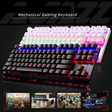 UK New RGB Gaming Keyboard 87 Keys 24 LED Backlit USB Wired Blue Switch Black