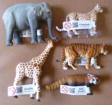 ZOO ANIMAL REPLICAS COLLECTION OF 5, Cheetah,Red Panda, Elephant,Giraffe & Tiger