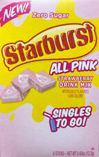 6 BOXES Of Zero Sugar Starburst All Pink Strawberry Drink Mix Singles To Go