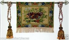 Tapestry Wall Hanging BUTTERFLY FLOWERS Fine Home Art Woven Decor Fringed Backed