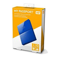 WD Western Digital My Passport 1TB 1 TB Portable External Hard Drive HDD Blue