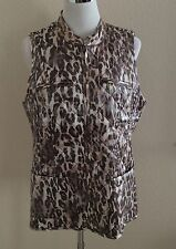 CHICOS Quilted Animal Shine Vest Peach Brown Top, size 1 NEW $119 (woman 6, 8)