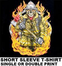 THE FIREFIGHTER FROM HELL SKELETON FIREMAN FLAMES AXE HELMET SKULL T-SHIRT WS155