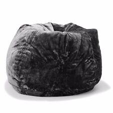 Large Oversize Tear Drop Shape Bean Bag Skin Cover Black Faux Fur 3L Capacity