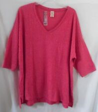 FADED GLORY RACY PINK KNIT POLY/ SPANDEX TOP BLOUSE SHORT SLEEVE 4X 26W 28W