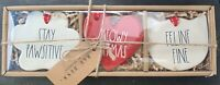 NEW Rae Dunn Cat Christmas Ornaments LL Shaped Red & White Flat Set Of 3 HTF!!