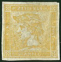AUSTRIA 1851 Yellow Mercury (6 Kr.) Newspaper Stamp, MNG. Michel 7