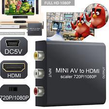 Mini RCA AV/CVBS To HDMI AV2HDMI Converter Video Audio Adapter HD 1080P Upscaler