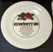 Deep Dish Pie Plate STRAWBERRY Recipe crimped fluted edges 10""