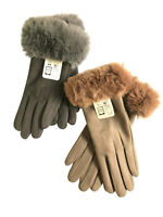2Pairs Womens Touchscreen Fasion Gloves Windproof Fluffy Fur Suede Winter Gloves