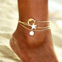 Gold Pearl Bracelet New Star Moon Chain Foot Anklet Charms Ankle Steel Stainless