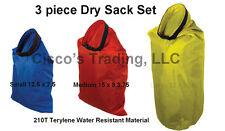3 Piece Set Dry Sacks Large Water Resistant 210T Terylene Pouch Bag Compression