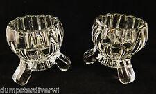 2 National Deco crystal Footed votive / Candlesticks Jeannette Glass vintage 40s