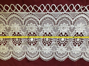 """Lace Window Cafe Curtain Kitchen Valance Floral Cotton Scalloped Edge 53""""x16.5"""